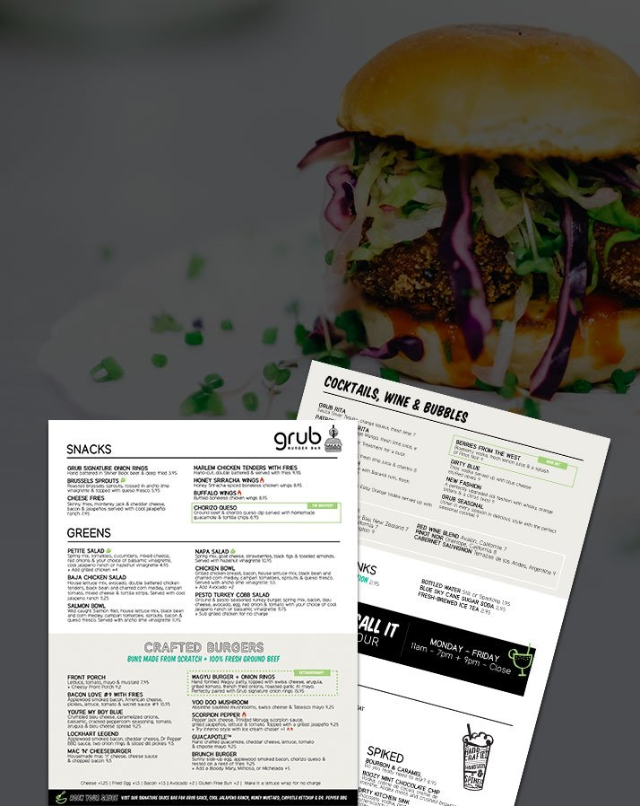 San Diego Restaurant Menu Design