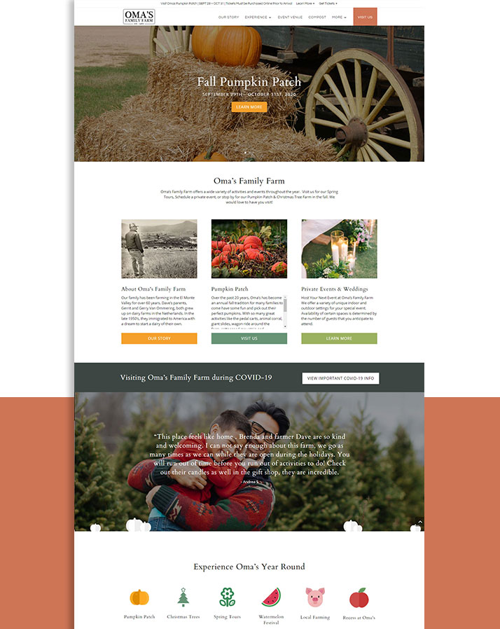 Oma's Family Farm Website Development